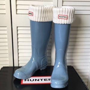 Hunter Original Tall Rain Boots Glossy Blue Lily 7